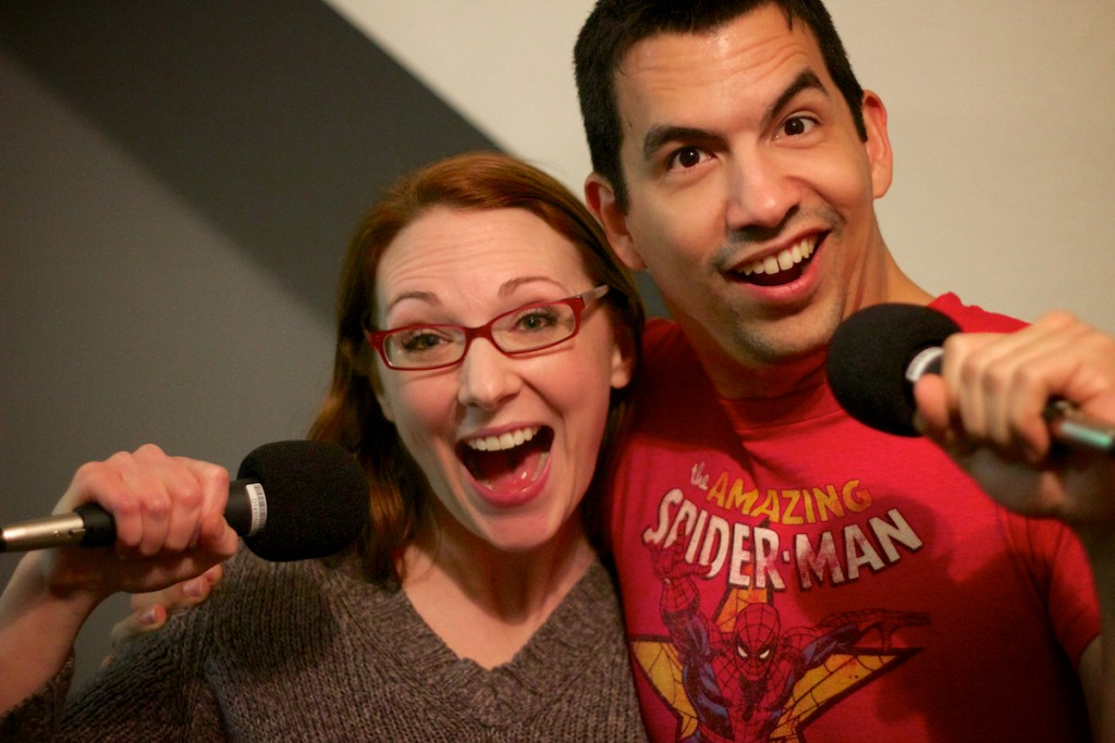 Robin Kauffman and Jose Rivera recording the 'Teen Witch' episode of THE MILKSHAKE BOOM.